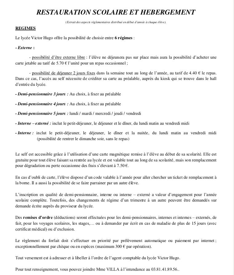 Services D Intendance Lycee Victor Hugo